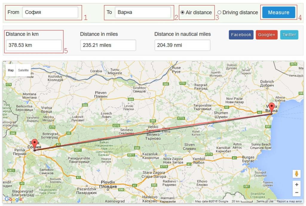 Измерване на разстояние по въздух в километри - измерване на разстояния по въздух в километри