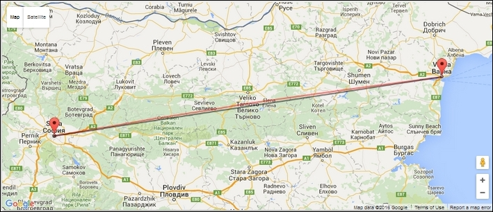 Измерване на разстояние по въздух в километри по права линия